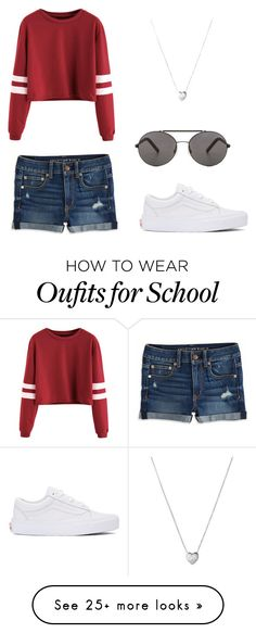 """""""school chic<3"""" by annabellabeautiful on Polyvore featuring Vans, American Eagle Outfitters, Seafolly and Links of London"""