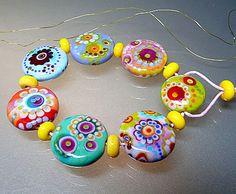 'Summerfields' Lampwork Glass Handmade Set of 15 Beads by 'Manuela Wutschke' #SRAW6 #handmade ♥≻★≺♥
