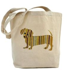 Striped Dachshund Puppy Tote Bag