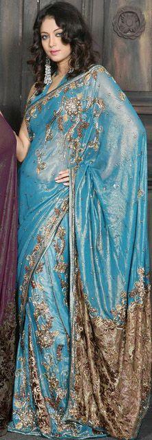 Blue and Gold Indian  Saree