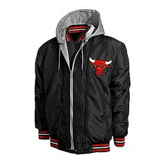 Chicago Bulls Men's Black Wool and Leather Reversible Jacket with Hood $149.99 #Bulls #Reversible #Jacket