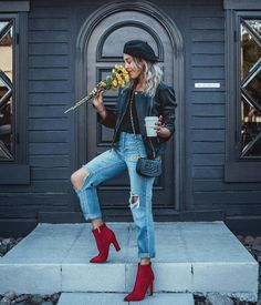 How to combine red shoes? - [ 19 Looks ] - How to combine red shoes? – Looks] Best Picture For kylie jenner outfits For Your Taste You - Booties Outfit, Red Shoes Outfit, Red Booties, Fashion Blogger Style, Look Fashion, Winter Fashion, Fashion Outfits, Womens Fashion, Fashion Bloggers