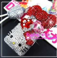 bling DIY phone deco KT with red bow phone kit | chriszcoolstuff - Craft Supplies on ArtFire