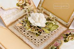 Postarzanie brązowym tuszem pigmentowym Tri Fold Cards, Folded Cards, Exploding Boxes, Explosion Box, Pop Up Cards, Decorative Boxes, Paper Crafts, Gift Wrapping, Design