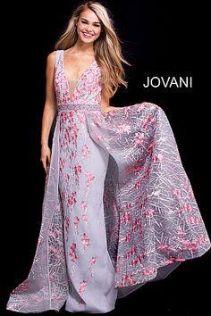 Grey Pink Embellished Belt V Neck Floral Prom Gown 58935