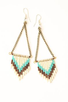 SALE   Chevron seed bead earrings  cream turquoise by heidiroland, $36.00