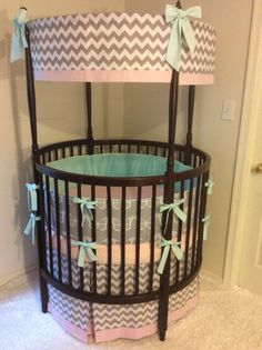 Baby Girl Cotton Candy Butterfly Round Crib by butterbeansboutique