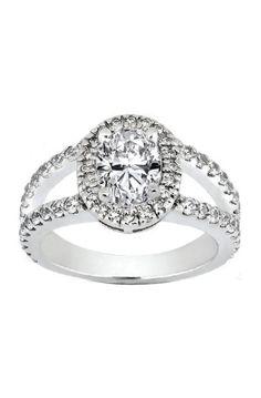 Oval Diamond Halo Engagement Ring Pave Set Split Band