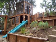 Backyard Fort, Backyard Playset, Backyard Playhouse, Build A Playhouse, Rustic Backyard, Backyard Playground, Backyard For Kids, Backyard Ideas, Steep Backyard