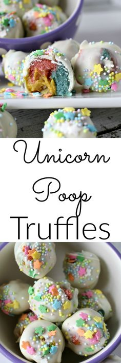 Unicorn Poop Truffles - a magical dessert for kids(Baking Treats For Kids) Just Desserts, Delicious Desserts, Dessert Recipes, Yummy Food, Health Desserts, Candy Recipes, Yummy Treats, Sweet Treats, Healthy Treats