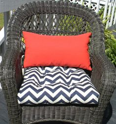 cushions for wicker chairs desk chair amazon 73 best images cane indoor outdoor cushion and rectangle lumbar pillow set navy dark blue white chevron solid red