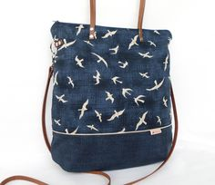 Schultertasche Möwe // bag with seagulls print by die :: frau :: kaliki via DaWanda.com
