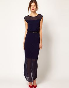 Warehouse Chiffon Hem Maxi Dress - layering of different types of textiles to create different levels of opacity