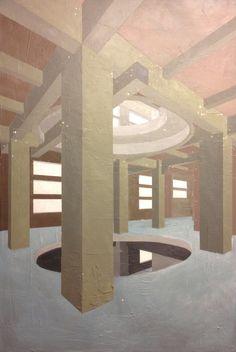"""""""CEMENTIFICIO A CHIOGGIA"""". In lavorazione per la nuova serie del 2015 questa tela Gallery da cm. 80×120 con fondi polimaterici e acrilico."""