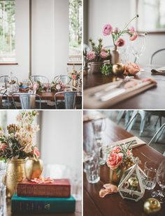 maybe spray mason jars silver or gold?  //  vintage romantic table decor