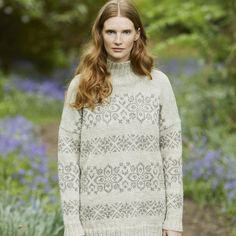 This lovely handknit sweater is available to buy as a printed pattern