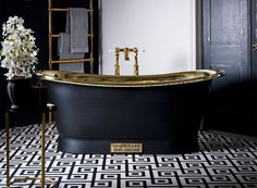 Brass Bath - The Brass Bateau Luxury Freestanding Bath - Bathroom Ideas Rustic Bathroom Designs, Boho Bathroom, Diy Bathroom Decor, Bathroom Interior, Brass Bathroom, Small Bathroom, Bathroom Ideas, Upstairs Bathrooms, Dream Bathrooms