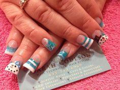 Snowman acrylic nails Winter nails  Blue acrylic