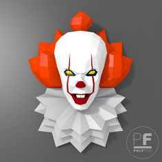 Пеннивайз Стивена Кинга 2017 Оно (Pennywise paper, It origami, 3D Evil clown, Papercraft, Lowpoly, DIY template, PDF, Horror 3D papercraft) by PolyFish on Etsy