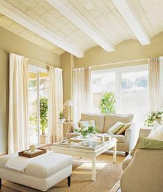 terracotta tiles with gray/green walls and lots of white/cream - perfect! Sage Living Room, Living Room Paint, Home And Living, Living Room Flooring, Living Room Furniture, Home Furniture, Terracota Floor, Sunroom Decorating, Room Colors