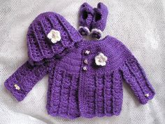 Crocheted Baby Girl's Sweater Pink Baby by TillieLuvsTreasures ...
