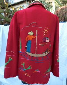 a94e70f1f277c Early 1940s Mexican Folk Art Jacket -Hand Embroidered