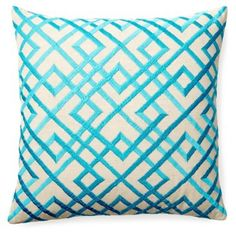 Check out this item at One Kings Lane! Mani 20x20 Embroidered Pillow, Teal