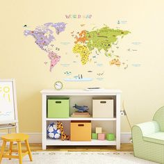 Educational and engaging, this map is fabulous for kids decor, and great in a classroom! The clever kids map design boasts bold colors and easy-to-read titles, complete with fun symbols, ships, airplanes and fish. -Comes on 3 sheets of transparent film -Assembly required -Depending on
