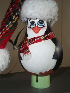 Penguin: Hand painted by Amanda Kirk light bulb ornament
