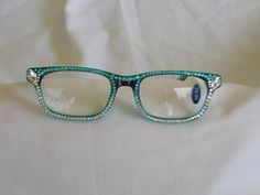 Swarovski Crystal Reading Glasses, 2.50 Lens, Two Tone StylishTeal and Black Stunning in Clear, Turqoise and Large Marquise Crystalssta by jamaartbeads. Explore more products on http://jamaartbeads.etsy.com