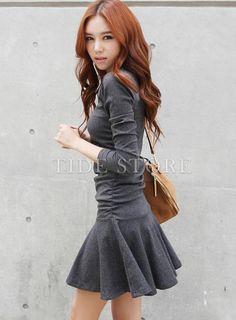 Fabulous Korean Style Fashion Slim Pleated Long Sleeve Dress