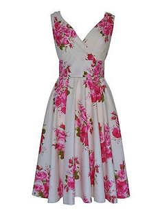 40s 50s Vintage Ivory Pink Floral Bridesmaid Cotton Party Prom Tea Dress BNWT 16