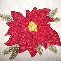 Mylar Poinsettia w/Table Runner Pattern - 5x7   Christmas   Machine Embroidery Designs   SWAKembroidery.com SewAZ Embroidery Designs