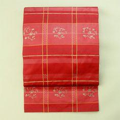 Casual use. Red ratice and flower pattern, nagoya obi / 普段着用に 赤地 格子と花柄 六通柄名古屋帯 #Kimono #Japan http://global.rakuten.com/en/store/aiyama/