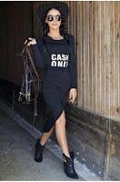 Rochie lunga asimetrica, marca FOGGI Shirt Dress, T Shirt, Casual, Outlet, Black, Tops, Dresses, Mall, Collections