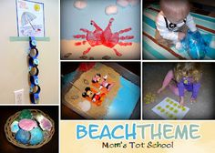 Moms Tot School: Beach - like the crab art project and the sensory ideas