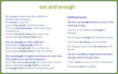 Forum | ________ Learn English | Fluent LandUsing TOO vs ENOUGH | Fluent Land