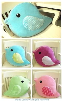 Items similar to Oversized Soft Plush Bird Parade Pet Pillow - Huggable Handmade Pillow for Baby Nursery decor, children playroom decor, unique birthday gift on Etsy Sewing Toys, Baby Sewing, Sewing Crafts, Sewing Projects, Cute Pillows, Diy Pillows, Throw Pillows, Softies, Bird Pillow
