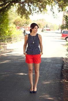 Navy polka dots with red shorts.