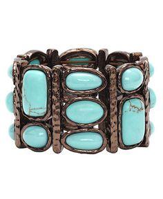 Monet Bracelet, Bronze Tone Turquoise Bead Stretch Bracelet