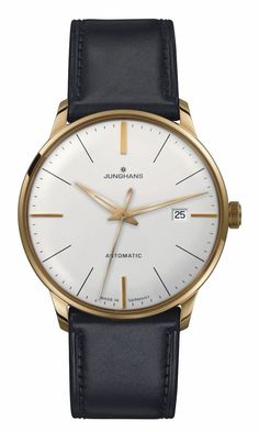 027/7312.00 Meister Classic Watch by Junghans. A sleek and timeless look of a matte silver plated dial displaying date, and four gold appliqués encased in a stainless steel case with gold PVD coating, finished with a supple horse-skin strap. Shop now! http://www.junghanswatchesusa.net/027731200-Meister-Classics-_p_292.html