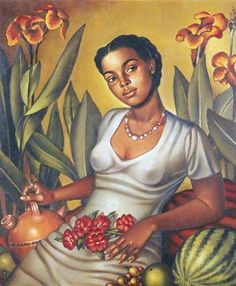 "artwork: Enrique Grau Araujo, ""Mulata Cartagenera"", 1940 - Courtesy of Museo Nacional de Colombia. In ""Caribbean: Crossroads"" at El Museo del Barrio, the Queens Museum of Art & the Studio Museum in Harlem from June until January African American Art, African Art, Art And Illustration, Art Latino, Dom Rep, Caribbean Art, Black Artwork, Afro Art, Fine Art"