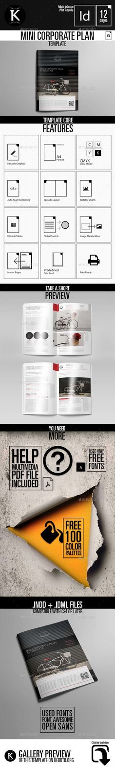 Mini Corporate Plan Design Template InDesign INDD. Download here: https://graphicriver.net/item/mini-corporate-plan-template/16987911?s_rank=23&ref=yinkira