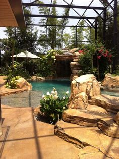 Love that this is covered! Perfect for areas with tons of bugs. Almost makes it feel more exotic in a strange way. #Backyard #Pools
