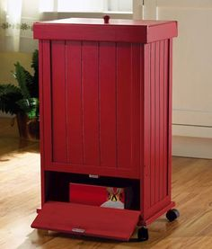 Red Rolling Wooden Garbage Can with Storage Drawer from Collections Etc.-  perfect for kitchen prep work