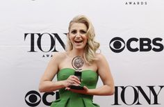 """Annaleigh Ashford poses backstage with her award for Best Performance By An Actress In A Featured Role In A Play for """"You Can't Take It with You"""". REUTERS/Eduardo Munoz"""