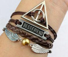 Deathly hallow bracelet best friend bracelet harry by handworld, $5.67