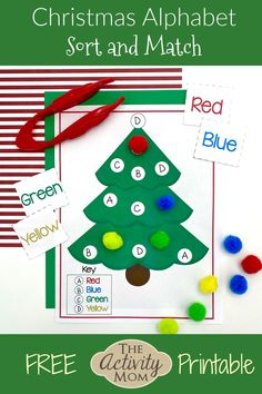 Christmas Tree Alphabet Matching for kids. Christmas tree sorting mat to use to practice letters, numbers, shapes, colors, or even sight words. Free printable Christmas matching activity. Christmas Alphabet, Christmas Math, Christmas Activities For Kids, Free Christmas Printables, Christmas Tree, Abc Coloring Pages, Abc Phonics, Alphabet Cards, Learning The Alphabet