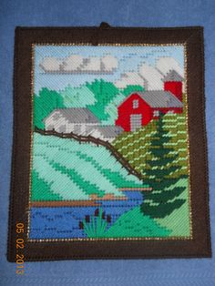 Farm Scene  Wall hanging  in Plastic canvas by SpyderCrafts, $14.00