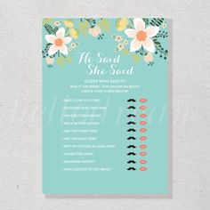 Bridal Shower Games, What's in Your Phone, Turquoise Wedding Shower, Floral Chic Party - SKUHDG09 by hellodreamstudio on Etsy